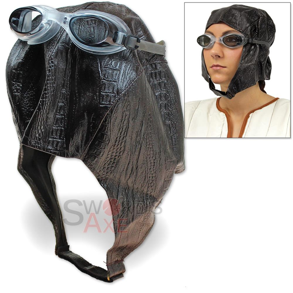 2b7390e1453aec Aviator Cap & Goggles Bomber Hat Steampunk Pilot Costume Synthetic Leather