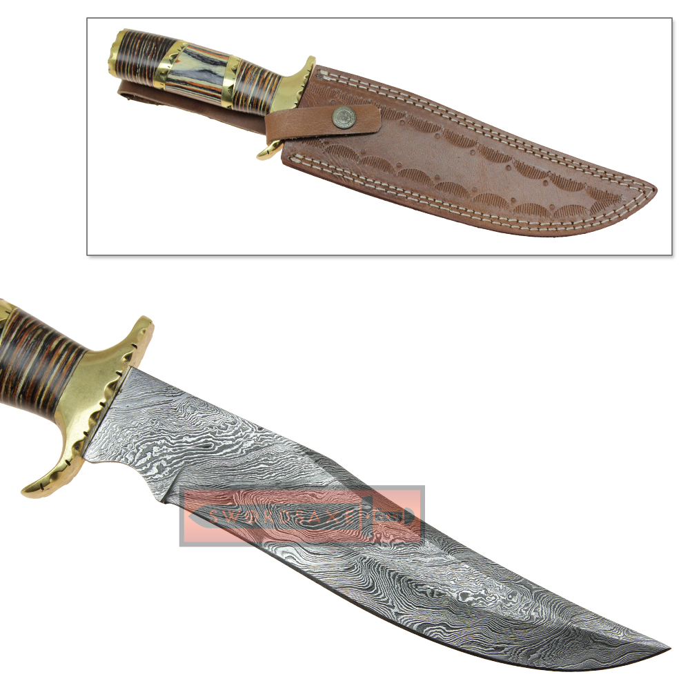 damascus steel wild stag long clip point blade modern