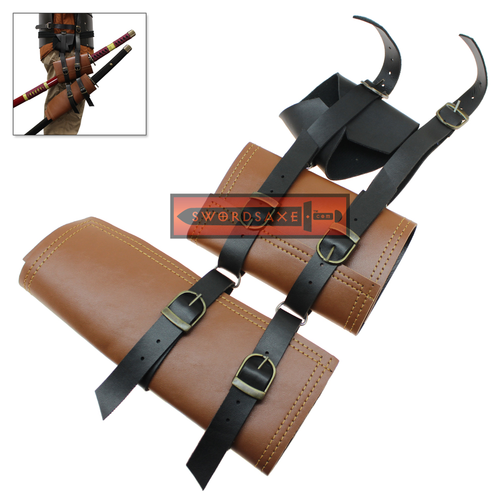 double sword frog belt loop holster medieval japanese style katana