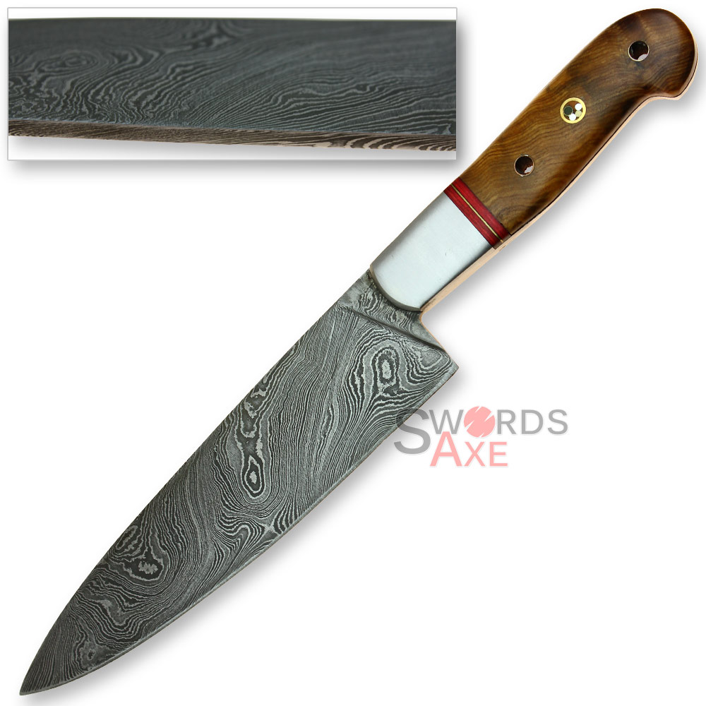 Jumbo Chefs Cooking-Kempo Damascus Steel Forged Knife - Apricot Hardwood