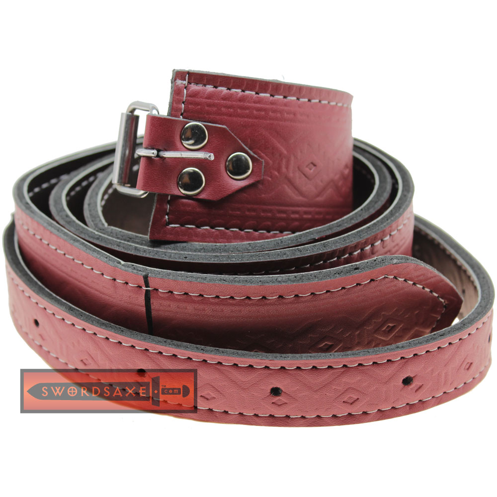Runic Viking Raider Thor's Strength Red Leather Buckled Belt