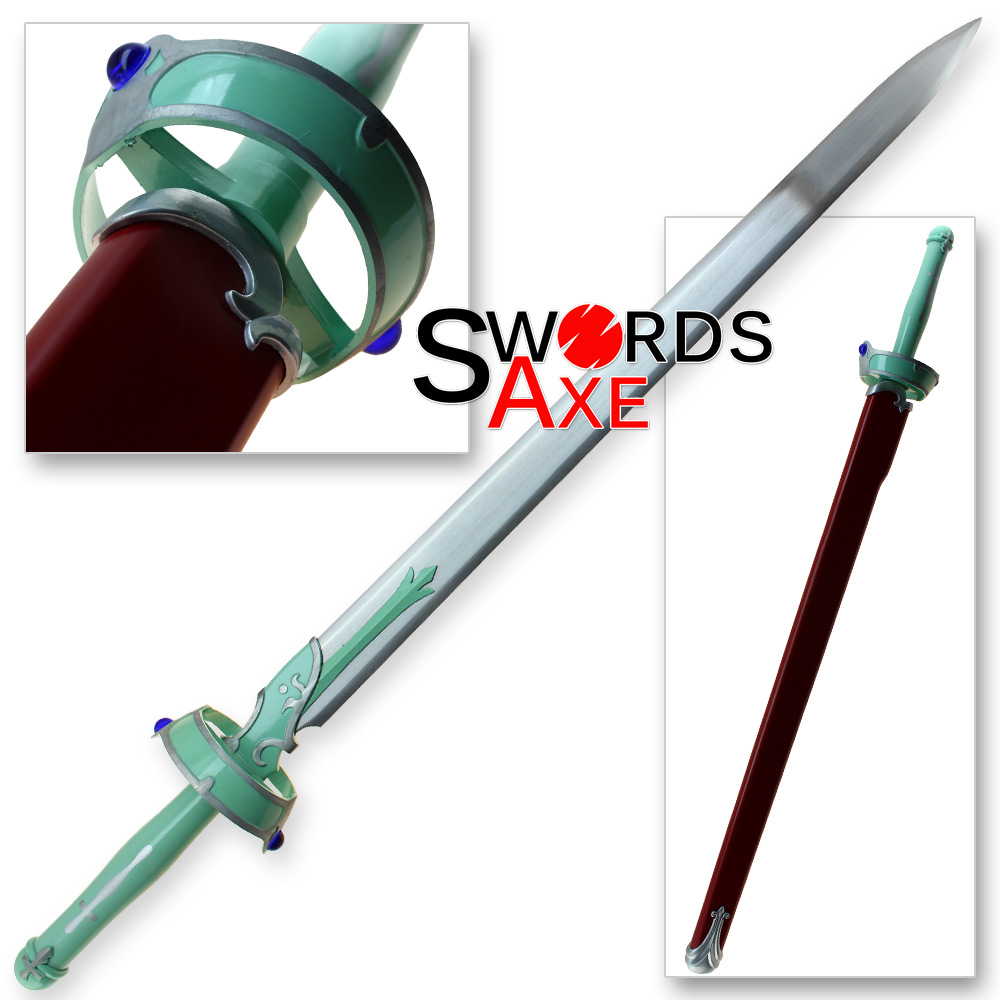 Sword art online asuna yuuki white carbon steel replica sword lambent