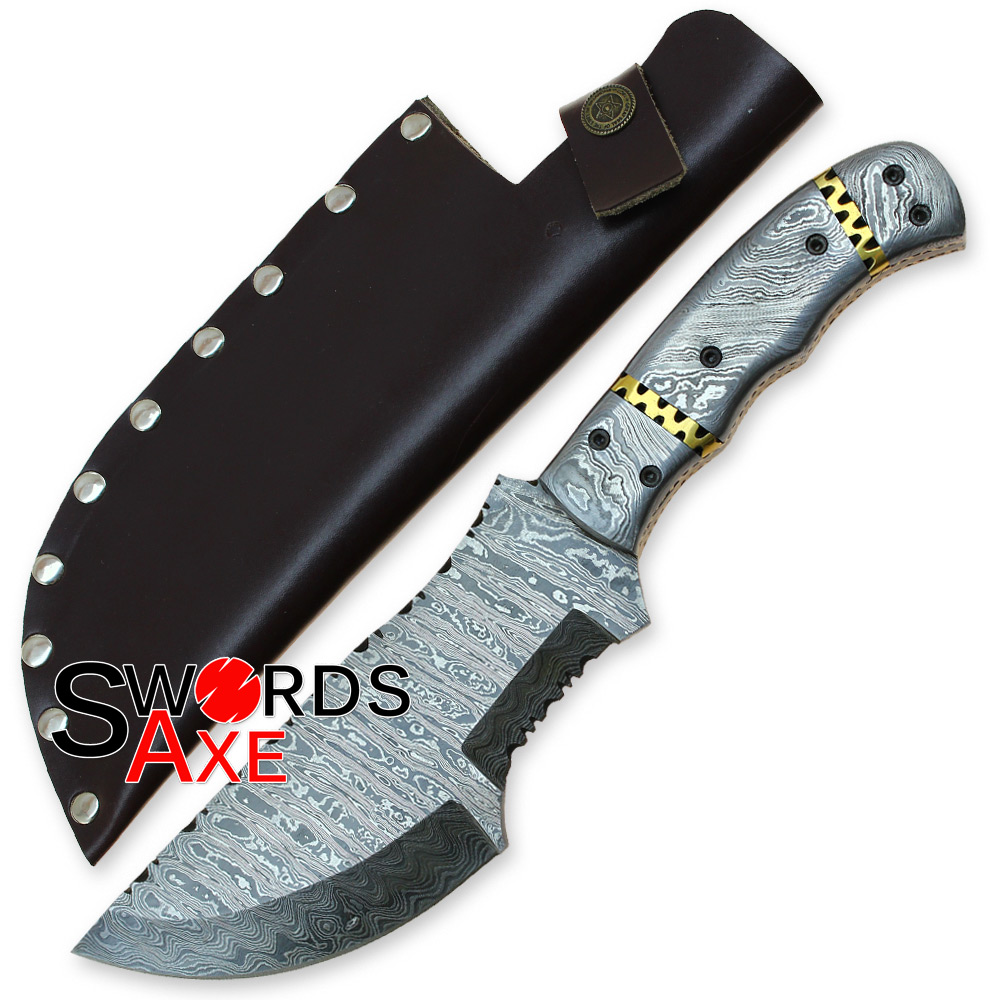The Hunted Tracker Sweeper Damascus Forged Knife Hatchet