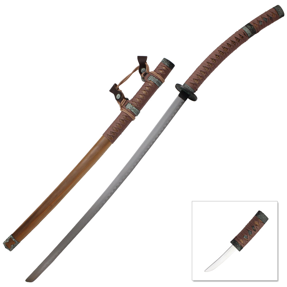 Traditional Japanese Tachi Sword Ornate Natural Wood Finish