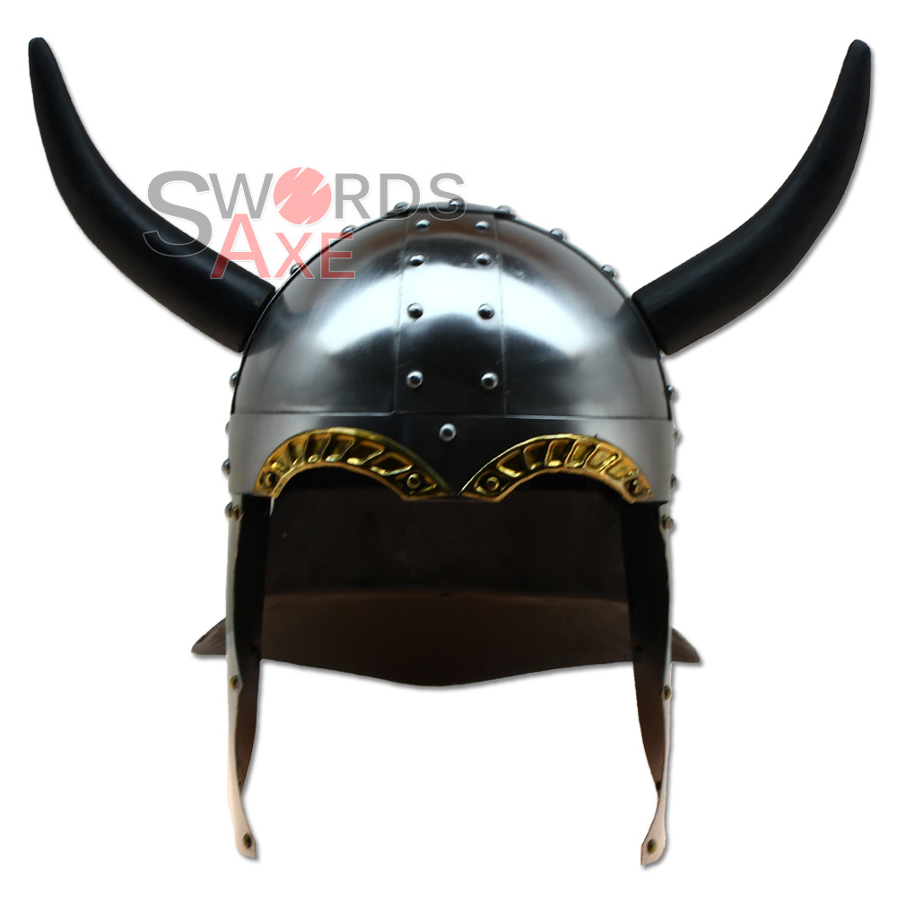 Vikings Late Horned Helmet Armor - Handforged Carbon SteelHorned Helmet Viking