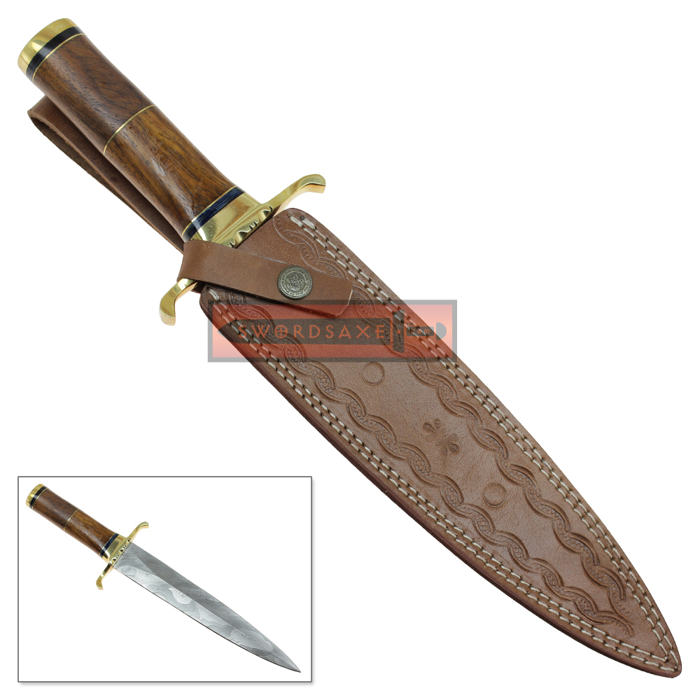 wild stag damascus steel double edged knife dagger blade