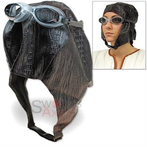 aviator cap goggles bomber hat steampunk pilot costume synthetic