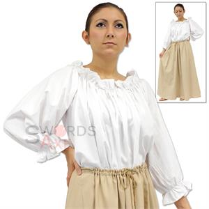Womens Ruffled Pirate Blouse Medieval Peasant Costume Shirt Renfair