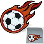 Flaming soccer ball patch