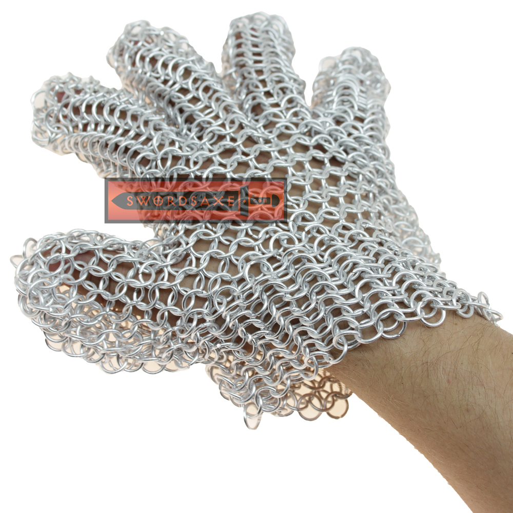 Medieval Chainmail Gloves Metal Armor Light Weight Aluminum Ring Cosplay LARP