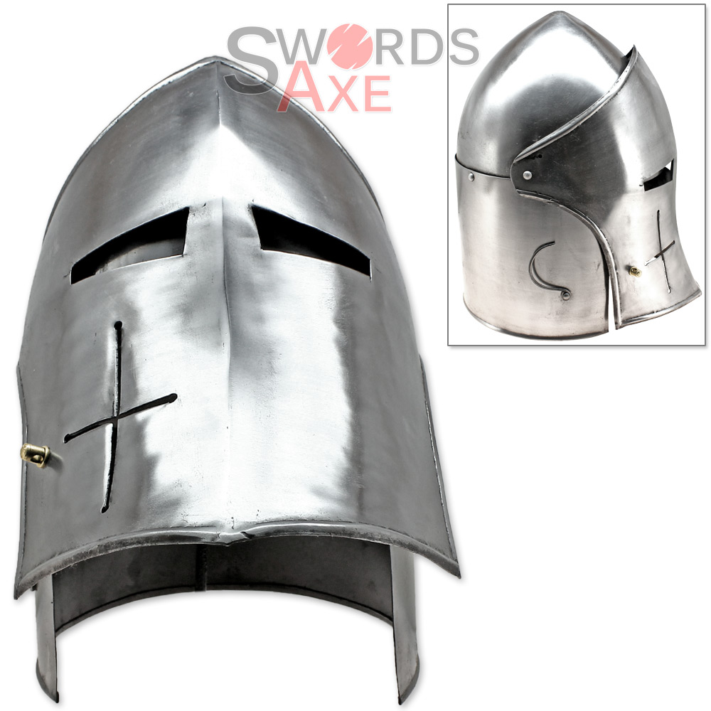 Functional 18G Steel Knights Visored Bascinet 14th Century ...