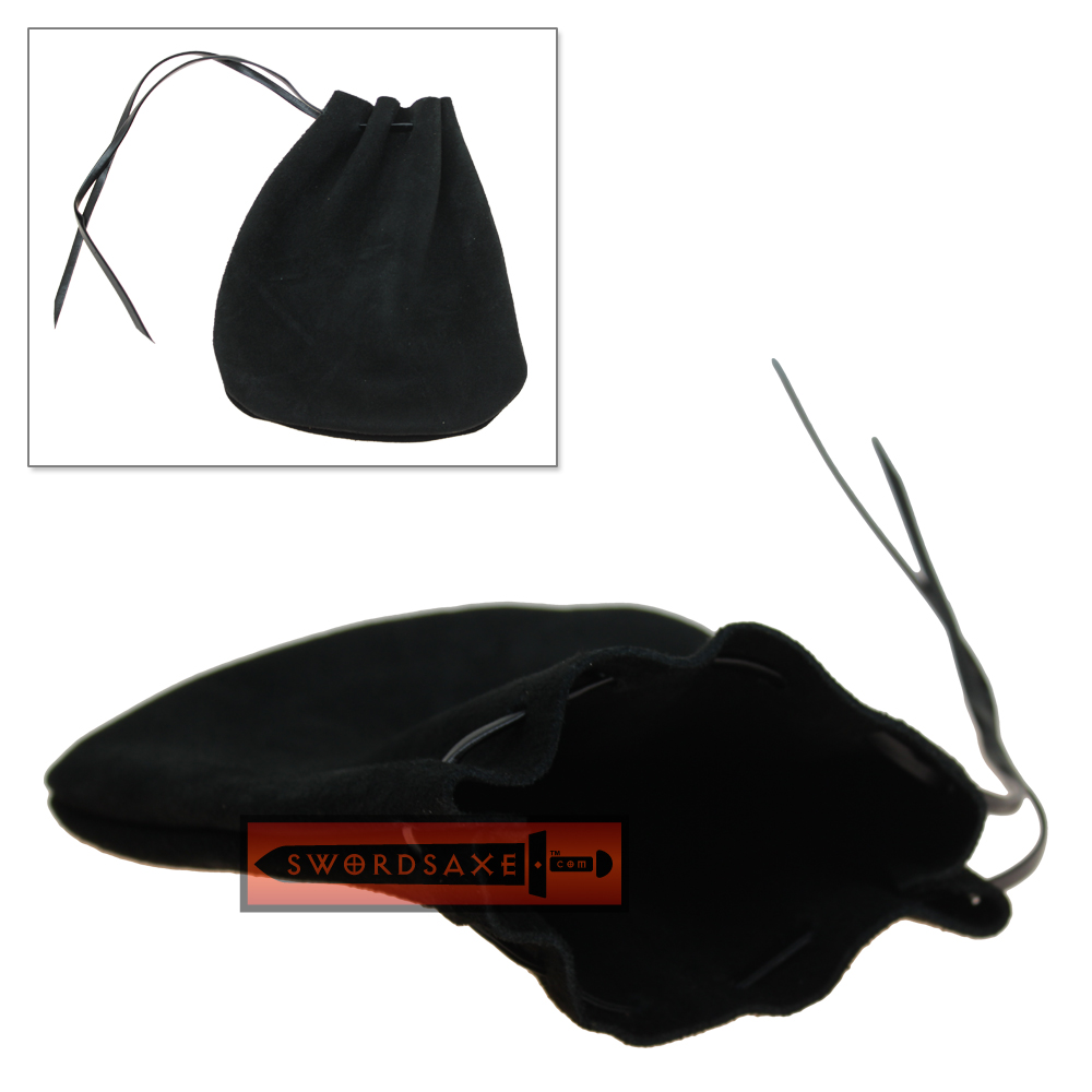 Black Suede Leather Coin Purse Medieval Belt Pouch